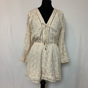 NWOT Lucy Paris Embroidered Lace Romper Size L